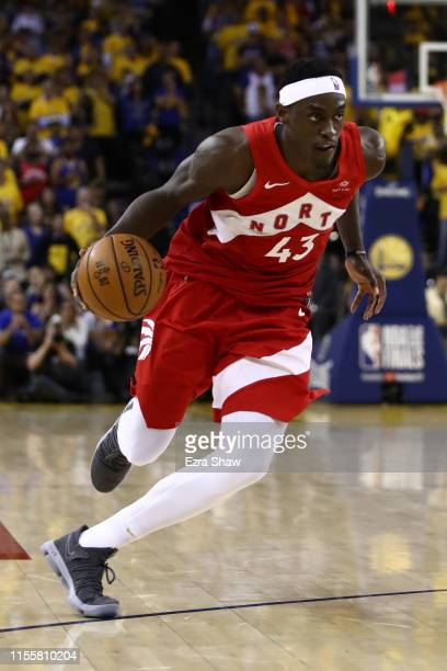 Pascal Siakam of the Toronto Raptors handles the ball on offense against the Golden State Warriors in the second half during Game Six of the 2019 NBA...