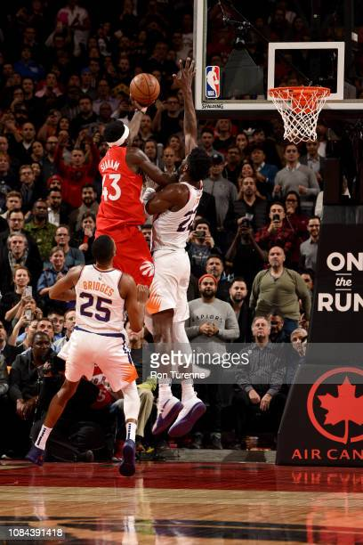 Pascal Siakam of the Toronto Raptors hits the game winning basket during the game against the Phoenix Suns on January 17 2019 at the Scotiabank Arena...