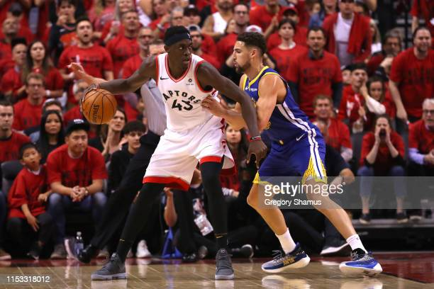 Pascal Siakam of the Toronto Raptors is defended by Klay Thompson of the Golden State Warriors in the first half during Game Two of the 2019 NBA...