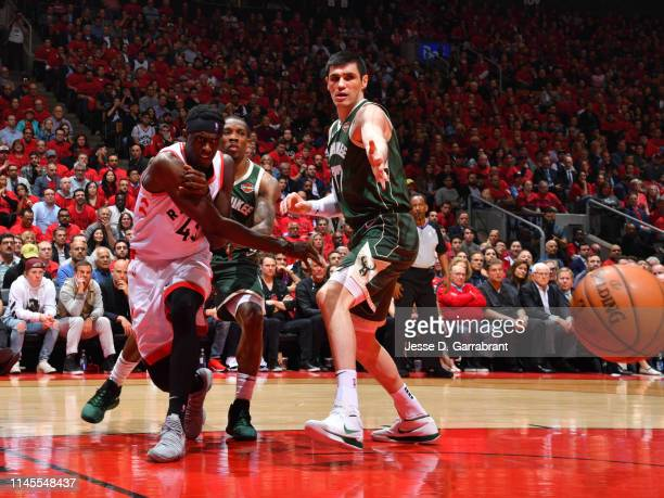 Pascal Siakam of the Toronto Raptors passes the ball against the Milwaukee Bucks during Game Four of the Eastern Conference Finals of the 2019 NBA...