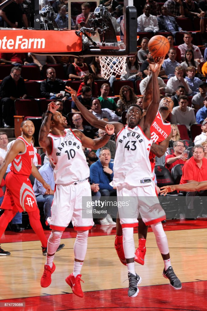 Pascal Siakam #43 of the Toronto Raptors reaches for the rebound during the game against the Houston Rockets on November 14, 2017 at the Toyota Center in Houston, Texas.