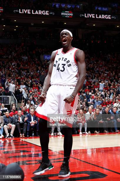 Pascal Siakam of the Toronto Raptors reacts against the Orlando Magic during Game Two of Round One of the 2019 NBA Playoffs on April 16 2019 at the...