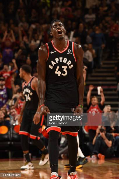 Pascal Siakam of the Toronto Raptors reacts to a play against the Detroit Pistons on October 30 2019 at the Scotiabank Arena in Toronto Ontario...