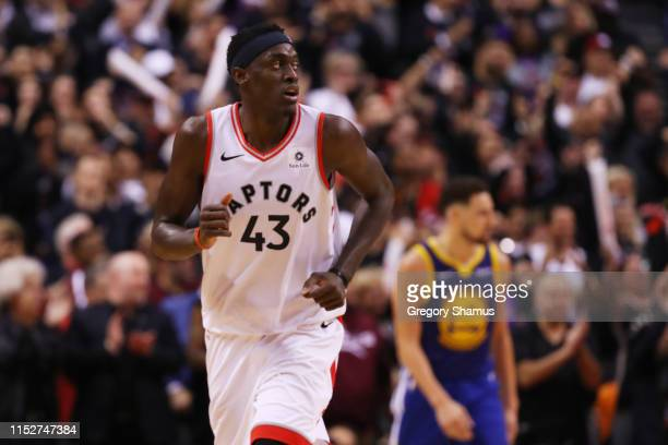 Pascal Siakam of the Toronto Raptors reacts to his teams lead against the Golden State Warriors in the fourth quarter during Game One of the 2019 NBA...