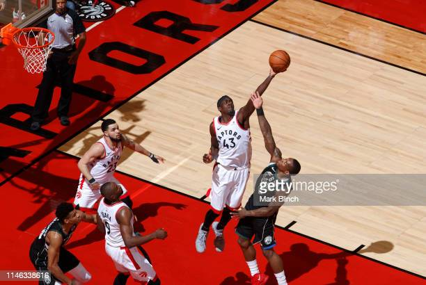 Pascal Siakam of the Toronto Raptors rebounds the ball against the Milwaukee Bucks during Game Six of the Eastern Conference Finals on May 25 2019 at...