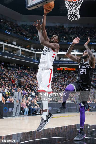 Pascal Siakam of the Toronto Raptors shoots a layup against JaKarr Sampson of the Sacramento Kings on December 10 2017 at Golden 1 Center in...
