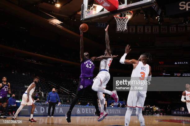 Pascal Siakam of the Toronto Raptors shoots the ball during the game against the New York Knicks on April 11, 2021 at Madison Square Garden in New...