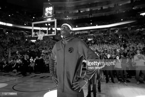 Pascal Siakam of the Toronto Raptors stands for the National Anthem before during Game Two of Round One of the 2019 NBA Playoffs against the Orlando...