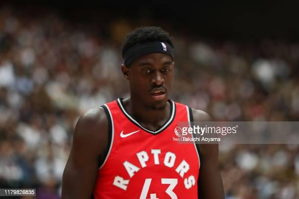 Pascal Siakam of Toronto Raptors reacts during the preseason game between Houston Rockets and Toronto Raptors at Saitama Super Arena on October 08...