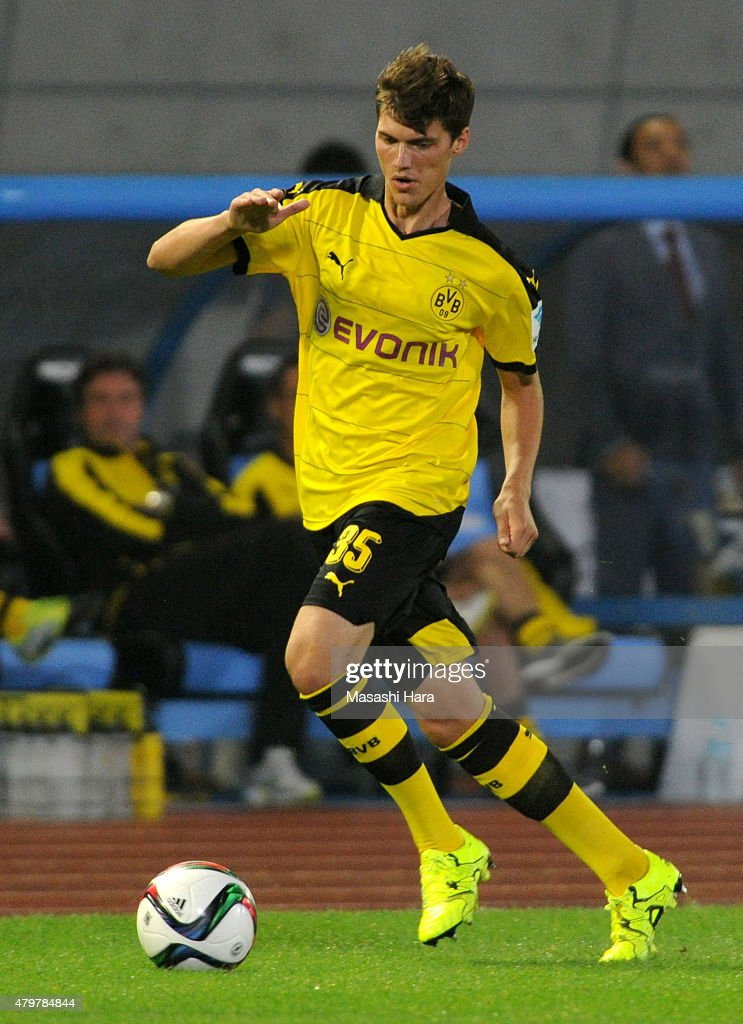 Pascal Stenzel #35 of Borussia Dortmund in action during the preseason friendly match between Kawasaki Frontale and Borussia Dortmund at Todoroki Stadium on July 7, 2015 in Kawasaki, Kanagawa, Japan.