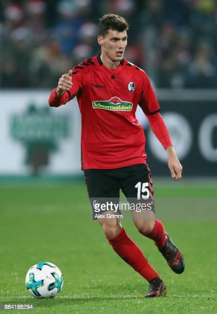 Pascal Stenzel of Freiburg controls the ball during the Bundesliga match between SportClub Freiburg and Hamburger SV at SchwarzwaldStadion on...