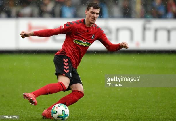 Pascal Stenzel of Freiburg controls the ball during the Bundesliga match between SportClub Freiburg and SV Werder Bremen at SchwarzwaldStadion on...