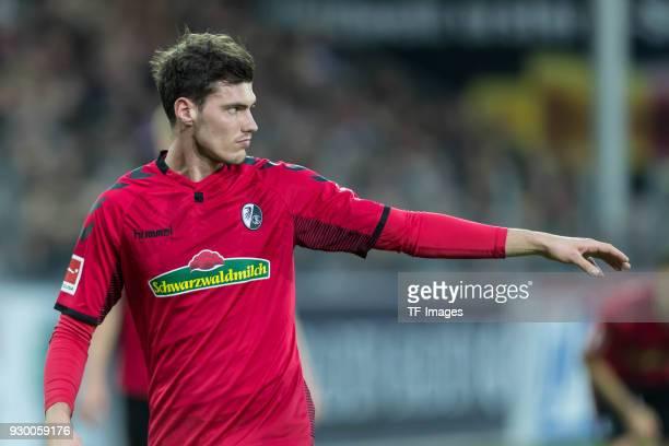 Pascal Stenzel of Freiburg gestures during the Bundesliga match between SportClub Freiburg and FC Bayern Muenchen at SchwarzwaldStadion on March 4...