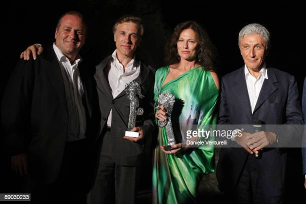 Pascal Vicedomini Christoph Walz Jacqueline Bisset and Antonio Bassolino attend day three of the Ischia Global Film And Music Festival on July 14...