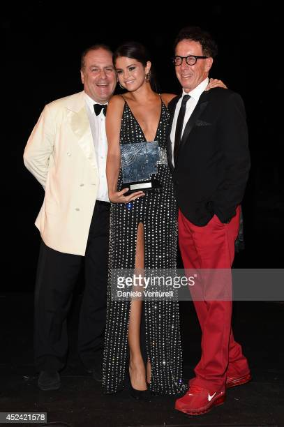 Pascal Vicedomini Selena Gomez and Mark Canton attend Day 8 of Ischia Global Film Music Fest 2014 on July 19 2014 in Ischia Italy
