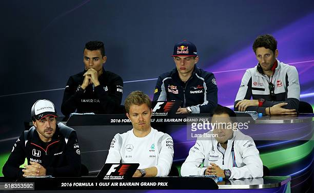 Pascal Wehrlein of Germany and Manor Racing Max Verstappen of Netherlands and Scuderia Toro Rosso Romain Grosjean of France and Haas F1 Felipe Massa...