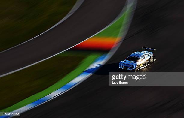 Pascal Wehrlein of Germany and Mercedes AMG drives during a training session ahead of qualifying for the final round of the DTM 2013 German Touring...