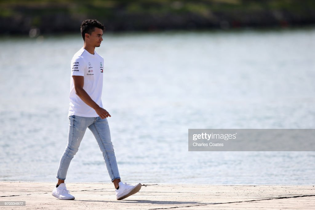 Pascal Wehrlein of Germany and Mercedes arrives at the circuit before final practice for the Canadian Formula One Grand Prix at Circuit Gilles Villeneuve on June 9, 2018 in Montreal, Canada.