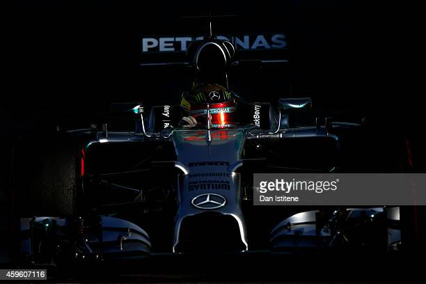 Pascal Wehrlein of Germany and Mercedes drives during day two of Formula One testing at Yas Marina Circuit on November 26 2014 in Abu Dhabi United...