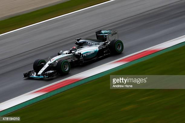 Pascal Wehrlein of Germany and Mercedes GP drives during Formula One testing at the Red Bull Ring on June 23 2015 in Spielberg Austria