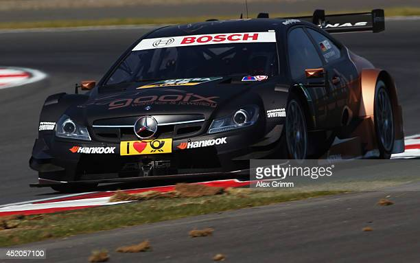 Pascal Wehrlein of Germany and Mercedes HWA drives during the training session ahead of qualifying for the fifth round of the DTM German Touring Car...