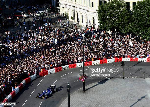 Pascal Wehrlein of Germany and Sauber driving the Sauber C32 during F1 Live London at Trafalgar Square on July 12 2017 in London England F1 Live...