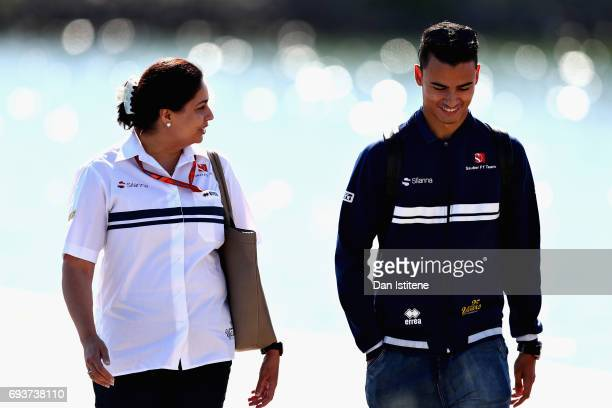 Pascal Wehrlein of Germany and Sauber F1 talks with Sauber Team Principal Monisha Kaltenborn on the walk into the paddock during previews for the...