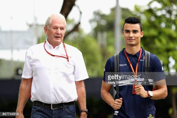Pascal Wehrlein of Germany and Sauber F1 with Red Bull Racing Team Consultant Dr Helmut Marko in the Paddock before final practice for the Formula...