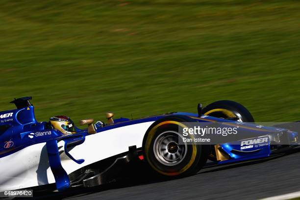 Pascal Wehrlein of Germany driving the Sauber F1 Team Sauber C36 Ferrari on track during day one of Formula One winter testing at Circuit de...