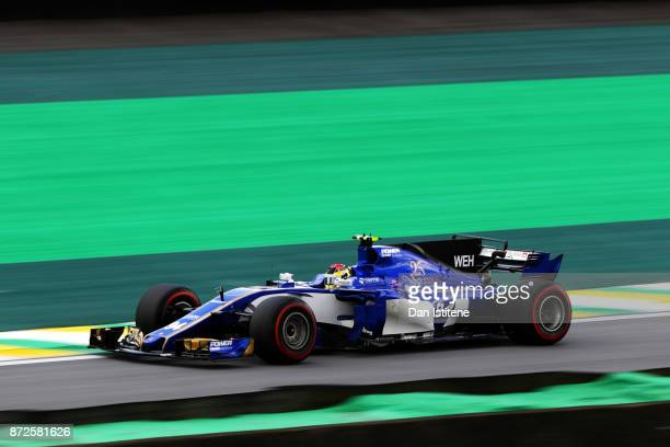 Pascal Wehrlein of Germany driving the Sauber F1 Team Sauber C36 Ferrari on track during practice for the Formula One Grand Prix of Brazil at...