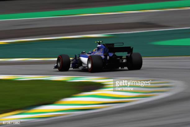 Pascal Wehrlein of Germany driving the Sauber F1 Team Sauber C36 Ferrari on track during qualifying for the Formula One Grand Prix of Brazil at...