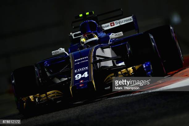Pascal Wehrlein of Germany driving the Sauber F1 Team Sauber C36 Ferrari on track during practice for the Abu Dhabi Formula One Grand Prix at Yas...