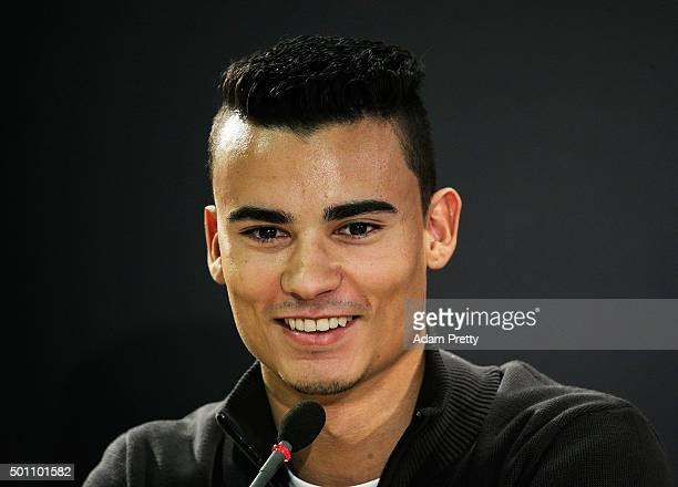 Pascal Wehrlein of Germany speaks to the media before the first round of races in the MecedesAMG A 45 of the Stars and Cars event at MercedesBenz...