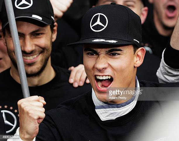 Pascal Wehrlein of gooix Mercedes AMG celebrates winning the DTM championship after race 1 of the DTM German Touring Car Hockenheim Race at...