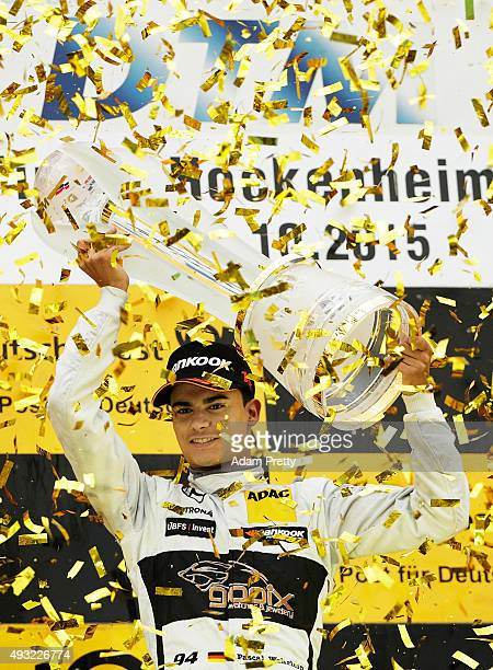 Pascal Wehrlein of gooix Mercedes AMG celebrates winning the DTM championship on the podium after race 2 of the DTM German Touring Car Race...