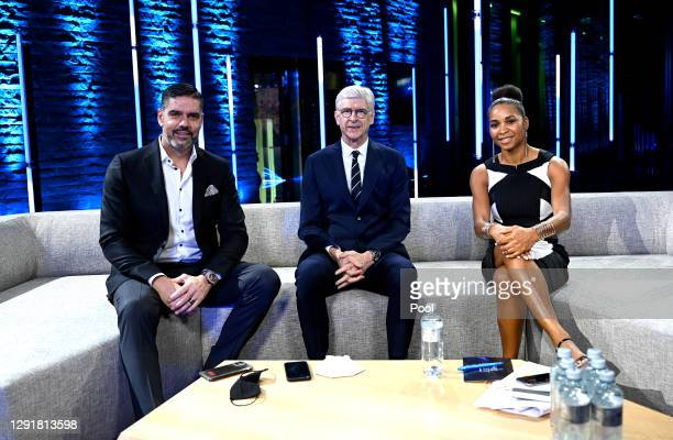 Pascal Zuberbuehler, Arsene Wenger and Laura Georges pose for a photo prior to the The Best FIFA Football Awards on December 17, 2020 in Zurich,...