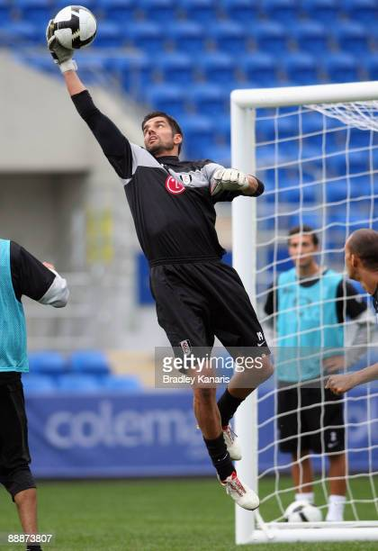 Pascal Zuberbuhler saves a goal during a Fulham FC training session at Skilled Stadium on July 7, 2009 in Gold Coast, Australia.
