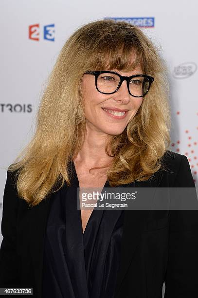 Pascale Arbillot attends The Lumiere Le Cinema Invente exhibition preview on March 26 2015 in Paris France