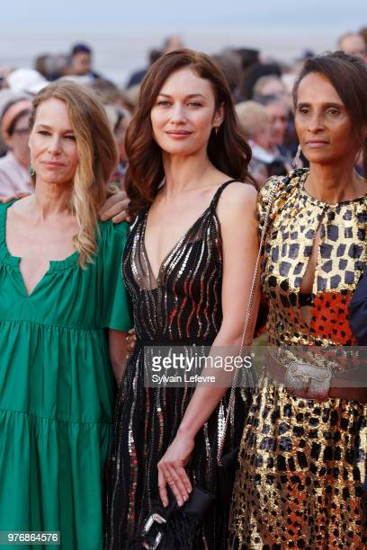 Pascale Arbillot Olga Kurylenko and Karine SillaPerez attends red carpet for the closing ceremony of Cabourg Film Festival on June 16 2018 in Cabourg...