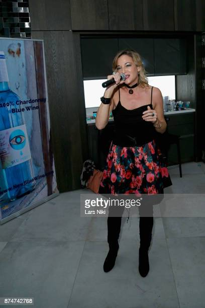 Pascale Bourbeau performs during the Blu Perfer & Blue Brut Launch Party for The 2018 8th annual Better World Awards on November 15, 2017 in New York...