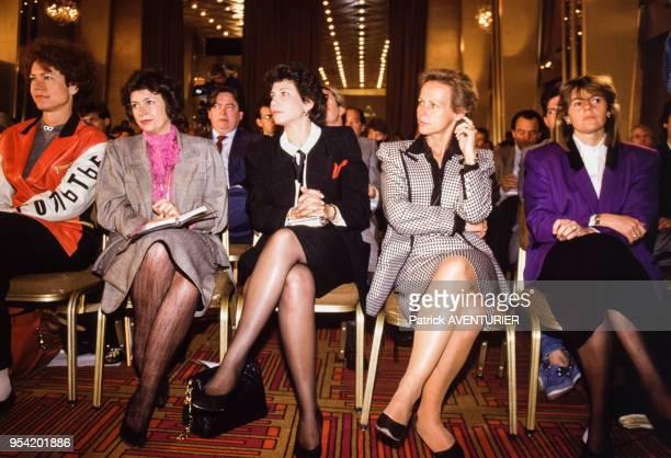Pascale Breugnot Michèle Cotta Anne Sinclair Christine Ockrent et Dominique Cantien le 6 mai 1987 à Paris France