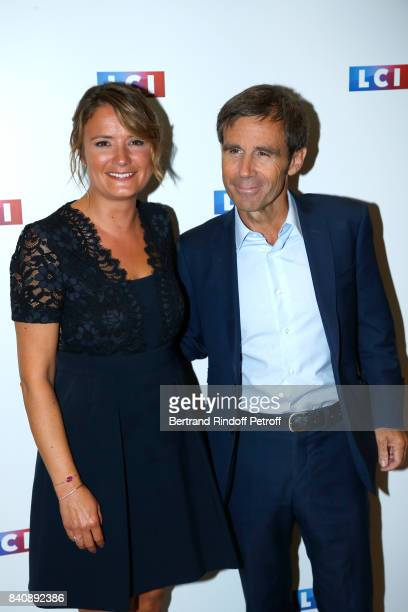 Pascale de La Tour du Pin and David Pujadas attend the LCI Press Conference to Announce Their TV Schedule for 2017/2018 on August 30 2017 in Paris...