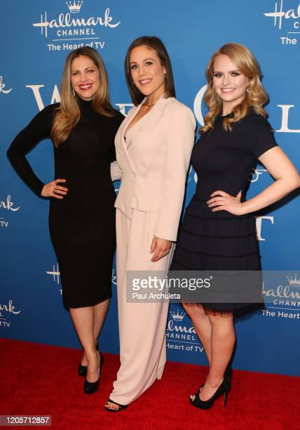Pascale Hutton Erin Krakow and Andrea Brooks attend the Hallmark Channel's When Calls The Heart season 7 celebration dinner and panel at Beverly...