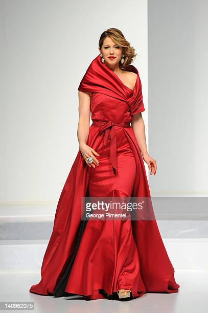 Pascale Hutton walks the runway during the Heart Truth fashion show at The Carlu on March 8 2012 in Toronto Canada