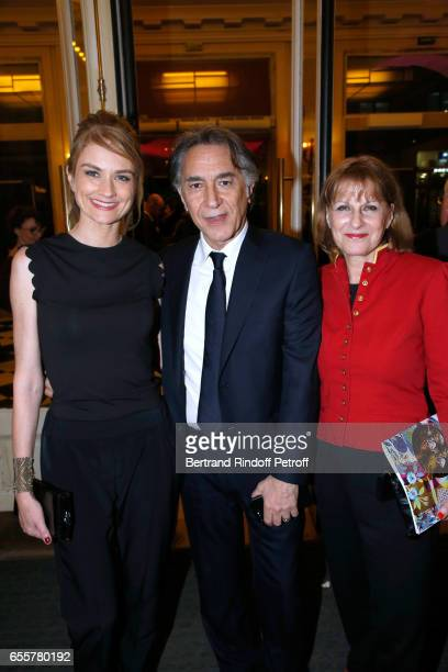 Pascale Louange her companion Richard Berry and President of Enfance Majuscule Patricia Chalon attend the Enfance Majuscule 2017 Charity Gala for the...
