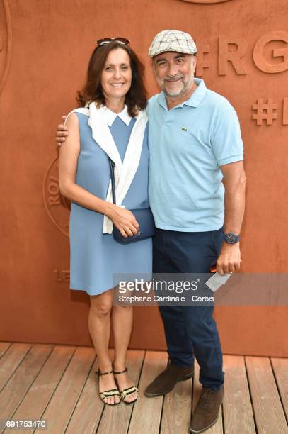 Pascale Pouzadoux and Antoine Dulery attend the 2017 French Tennis Open Day Six at Roland Garros on June 2 2017 in Paris France