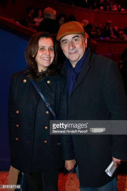 Pascale Pouzadoux and her husband Antoine Dulery attend 'Depardieu Chante Barbara' at 'Le Cirque D'Hiver' on November 16 2017 in Paris France