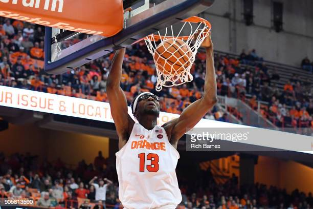 Paschal Chukwu of the Syracuse Orange dunks the ball against the Pittsburgh Panthers during the first half at the Carrier Dome on January 16 2018 in...