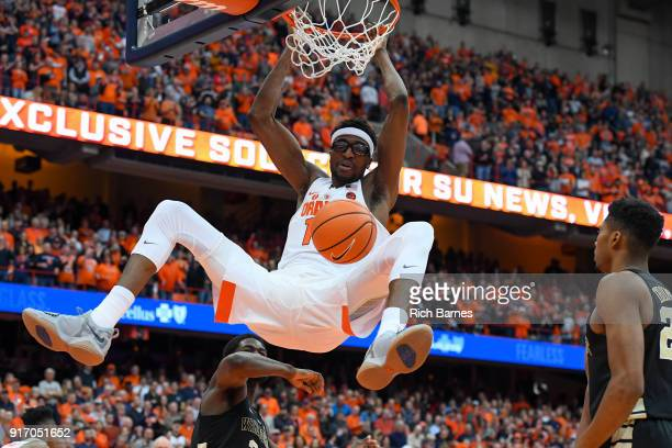 Paschal Chukwu of the Syracuse Orange dunks the ball against the Wake Forest Demon Deacons during the second half at the Carrier Dome on February 11...