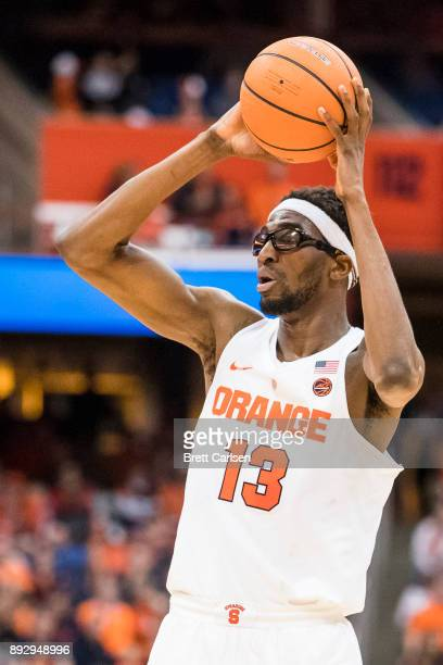 Paschal Chukwu of the Syracuse Orange handles the ball during the second half against the Colgate Raiders at the Carrier Dome on December 9 2017 in...